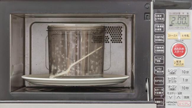 電子レンジで容器とコンビニのスプーンを消毒する