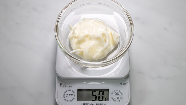 50gの玉ねぎヨーグルト