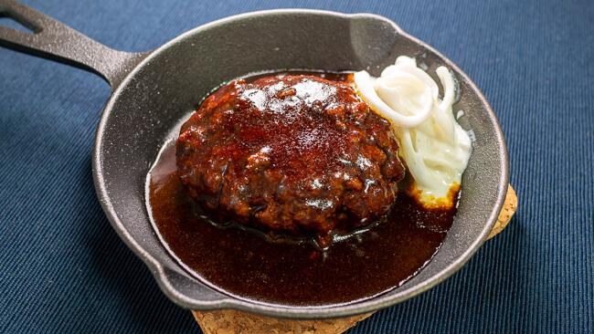 金の直火焼ハンバーグと玉ねぎヨーグルト